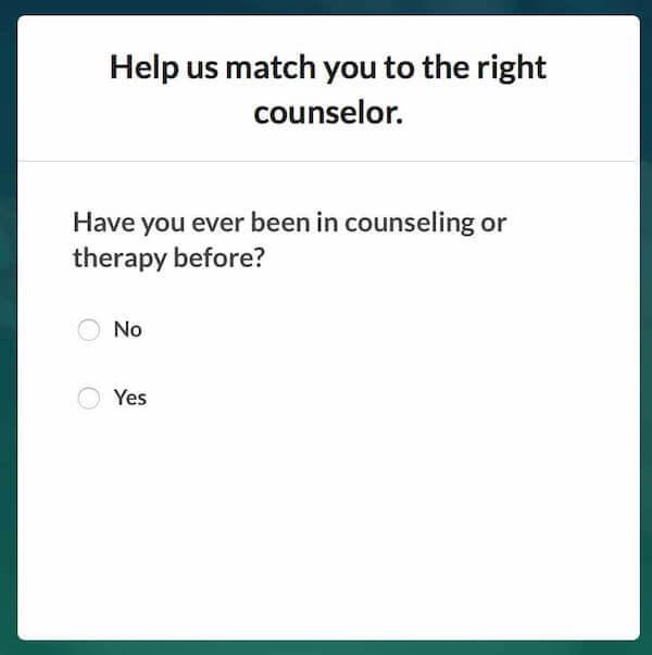BetterHelp - Counseling Sign-up Screen