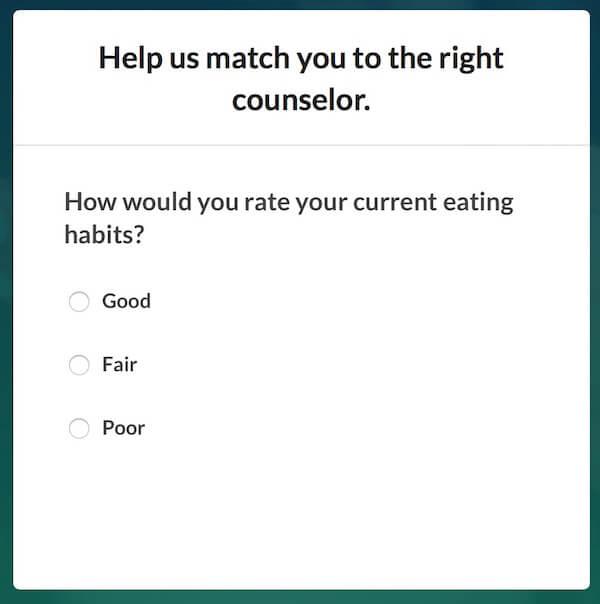 BetterHelp - Eating Habits Sign-up Screen