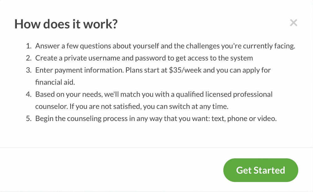 how does it work - betterhelp opening screen in sign-up process