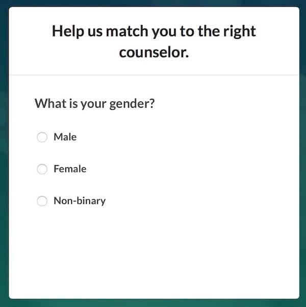 BetterHelp - Gender Screen in Online Sign-up Process
