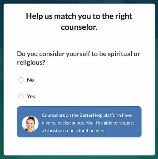BetterHelp - Spiritual or Religious Sign-up Screen