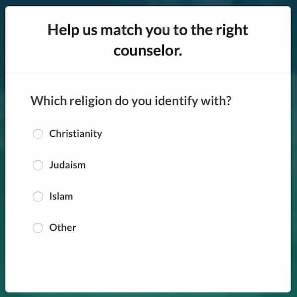 BetterHelp - What religion do you identify with Sign-up Screen